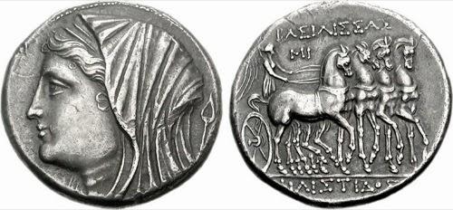 Moneda con la cara de Filistis, esposa de Hierón II