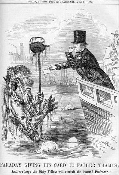 Caricatura sobre el mal estado del Támesis (1855)