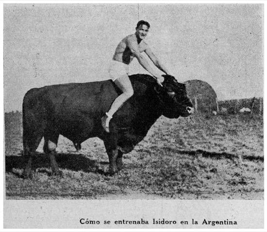 El boxeador Izzy Gastañaga subido a un toro en Argentina