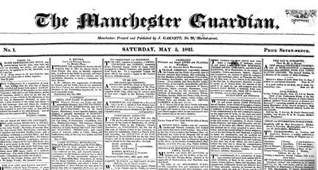 Cabecera de The Manchester Guardian del 5 de mayo de 1821