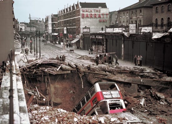 Imagen de Londres durante la Blitz de 1940