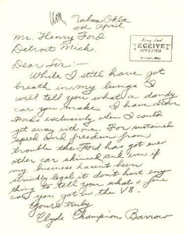El Ford V-8 de Bonnie y Clyde y una carta de agradecimiento