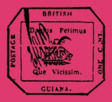 El sello magenta de 1 céntimo