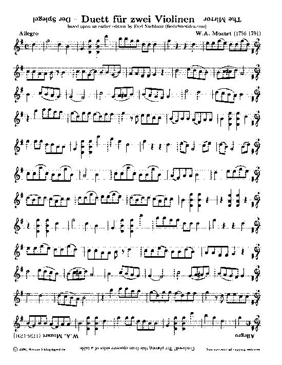 Música palíndroma, Mozart y el Dueto del Espejo