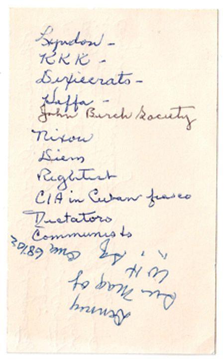 La lista de sospechosos del asesinato de JFK