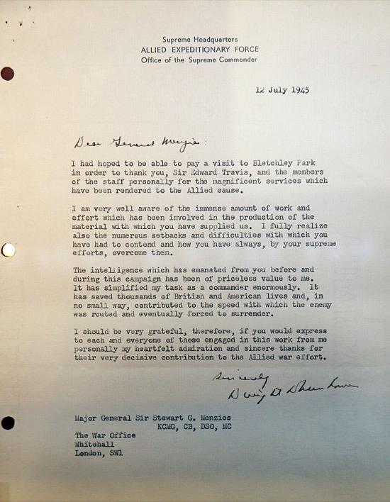 La carta de agradecimiento de Eisenhower a Bletchley Park