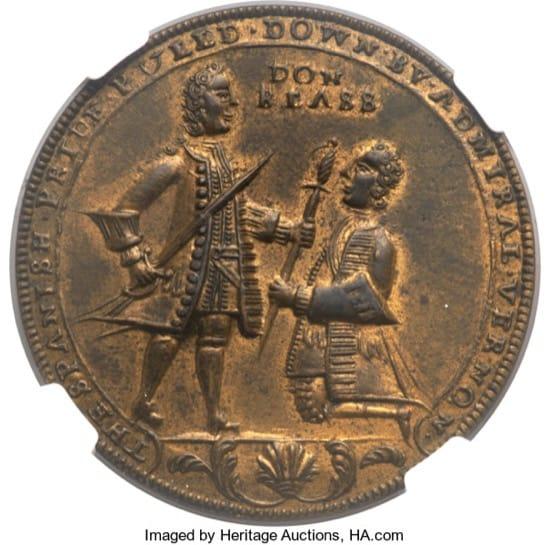 Las monedas británicas celebrando la derrota de Blas de Lezo, acuñadas antes de tiempo