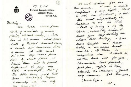 La carta de despedida de Churchill a su mujer