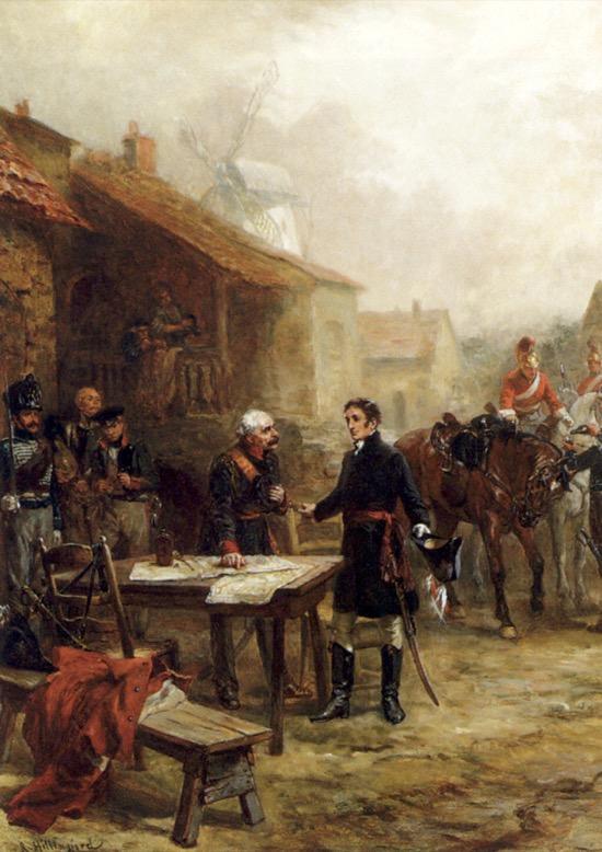 El encuentro de Wellington y Blucher antes de la batalla de Waterloo, de Robert Alexander Hillingford