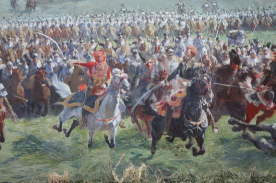 El mariscal Ney y su estado mayor encabezando una carga de caballería en Waterloo, de Louis Dumoulin