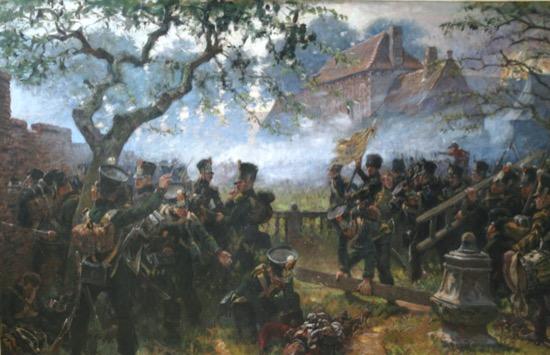 Las tropas de Nassau en Hougoumont durante la batalla de Waterloo, de Jan Hoynck van Papendrecht (1933)