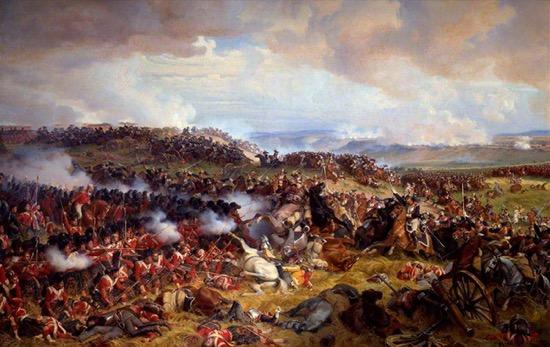 Los cuadros británicos recibiendo la carga de los coraceros franceses, de Félix Henri Emmanuel Philippoteaux