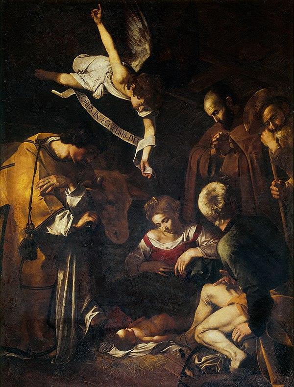 El robo de la Natividad con San Francisco y San Lorenzo de Caravaggio